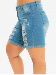 Plus Size Destroyed Cuffed Jean Shorts -