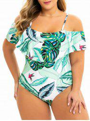 Plus Size Tropical Leaf Print Ruffle One-piece Swimsuit -