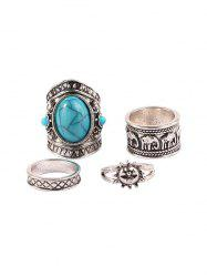 Four-piece Retro Turquoise Wide Ring Set -