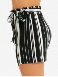 Plus Size Striped Belted Paperbag Waist Shorts -