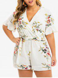 Plus Size Plunging Bell Sleeve Floral Belted Romper -