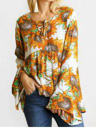 Flare Sleeves Lace Up Sunflower Print Blouse -