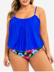 Plus Size Double Up Tropical Tankini Swimwear -