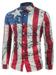 Long Sleeves Distressed American Flag Print Button Shirt -