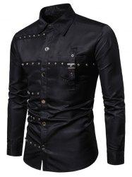 Gothic Rivet Design Party Club Long Sleeves Shirt -