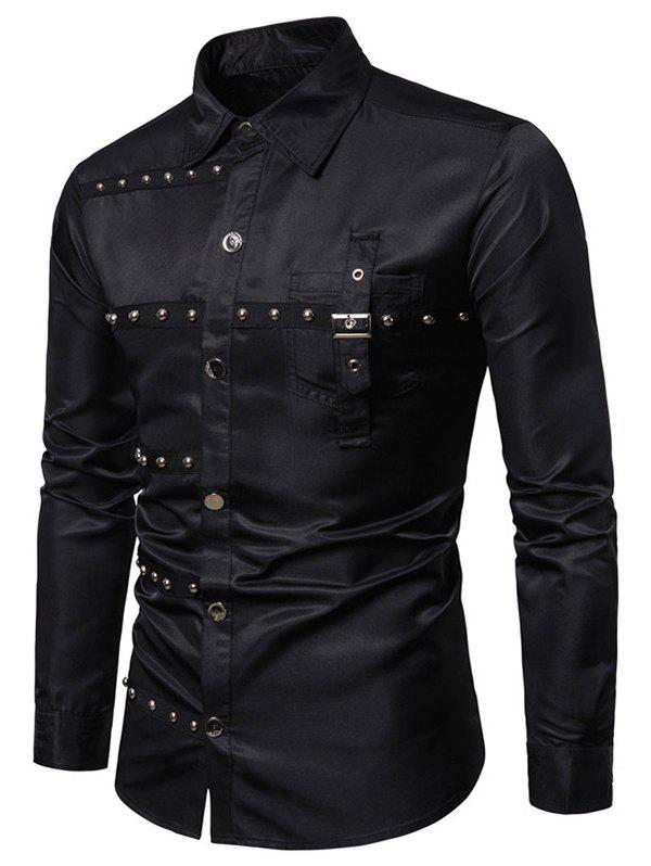 Chic Gothic Rivet Design Party Club Long Sleeves Shirt