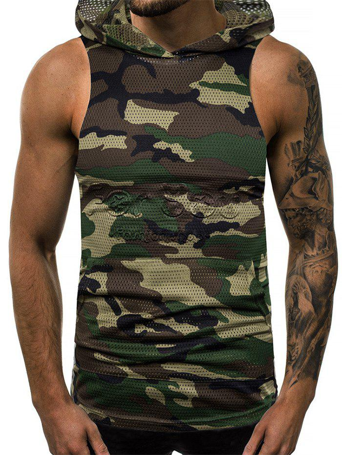 Affordable Camouflage Print Mesh Hooded Tank Top