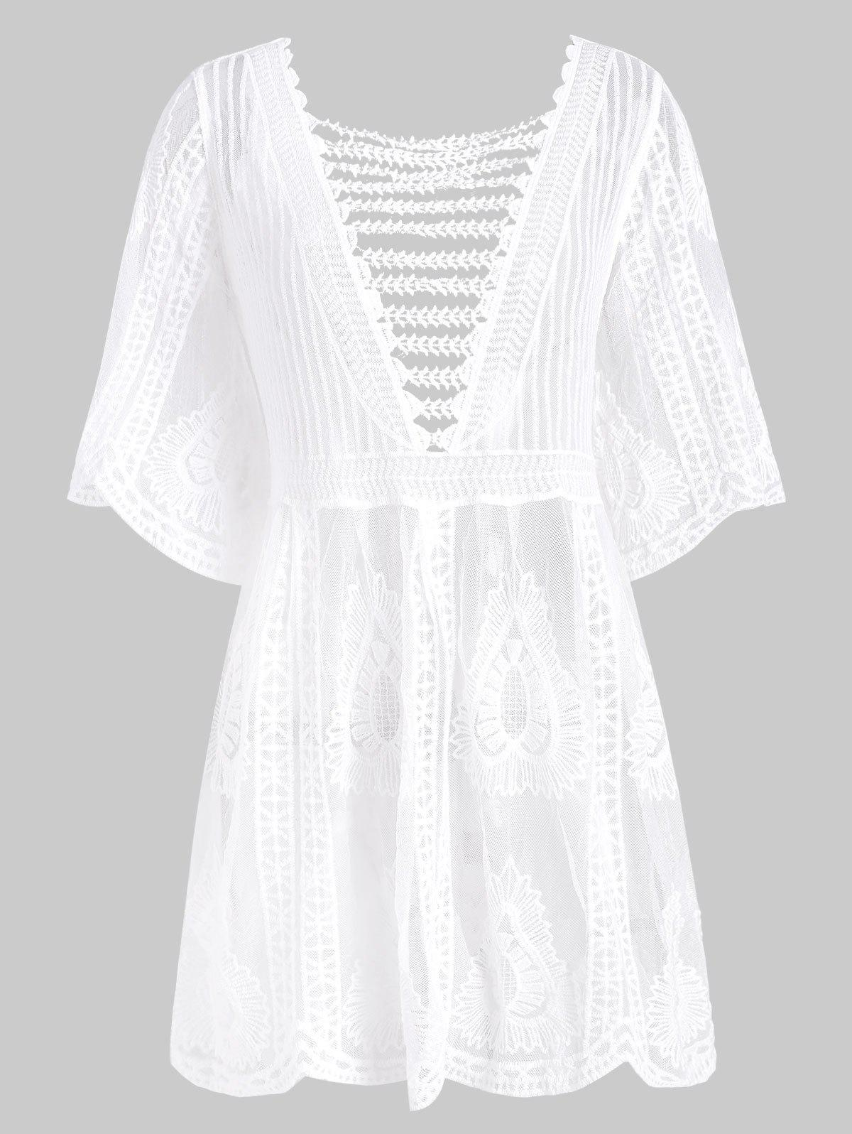 Online Lattice Crochet Longline Cover Up