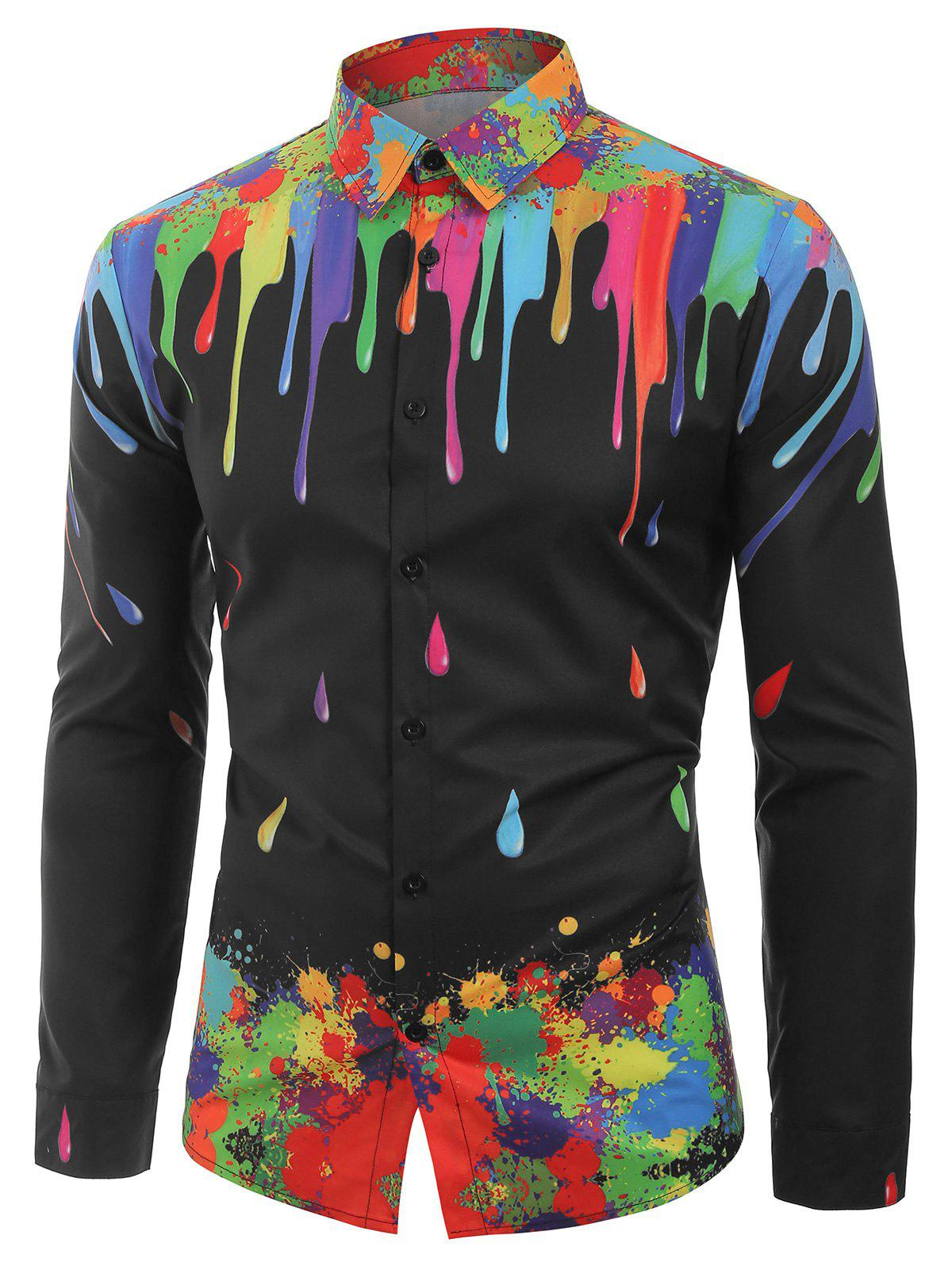 Outfit Water Drop Splatter Painting Print Long Sleeves Shirt