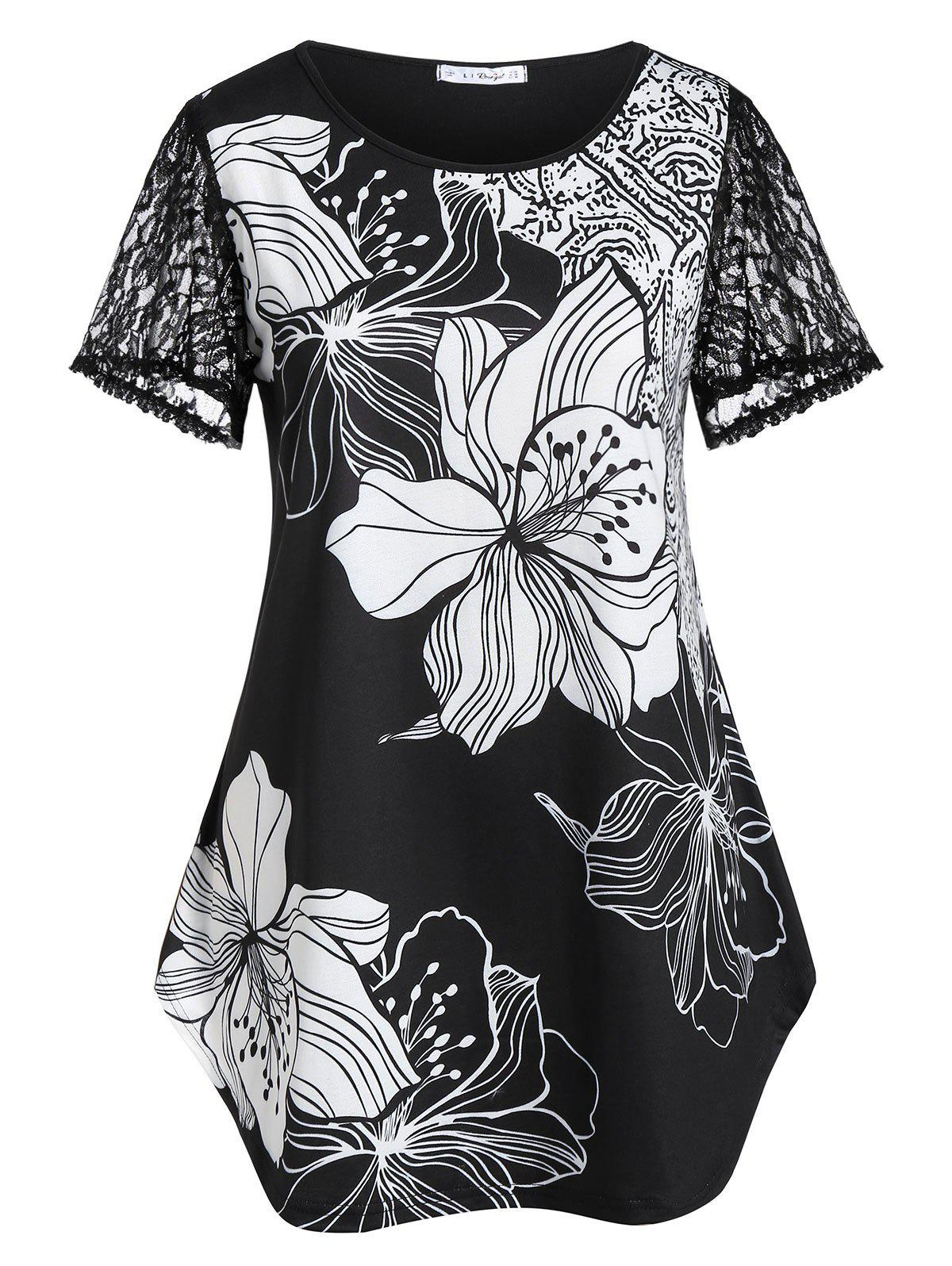 Buy Plus Size Lace Sleeve Floral Curved T-shirt