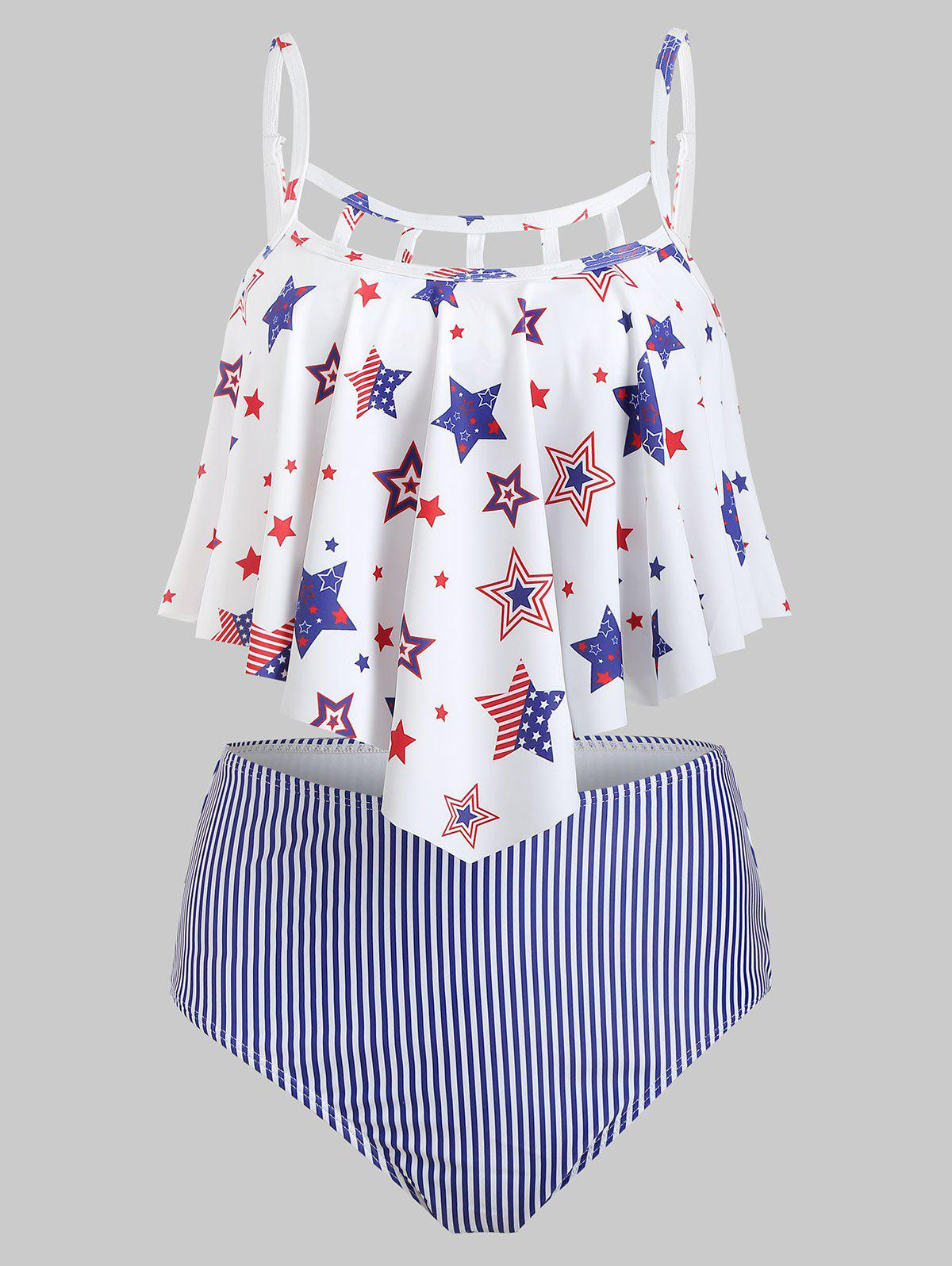 Trendy American Flag Ladder Cutout Flounce Tankini Swimsuit