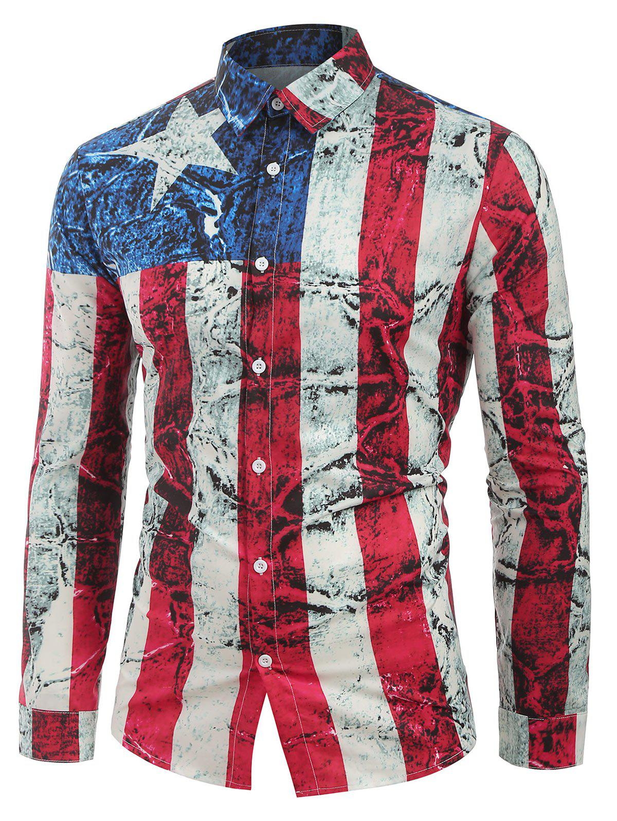 Discount Long Sleeves Distressed American Flag Print Button Shirt