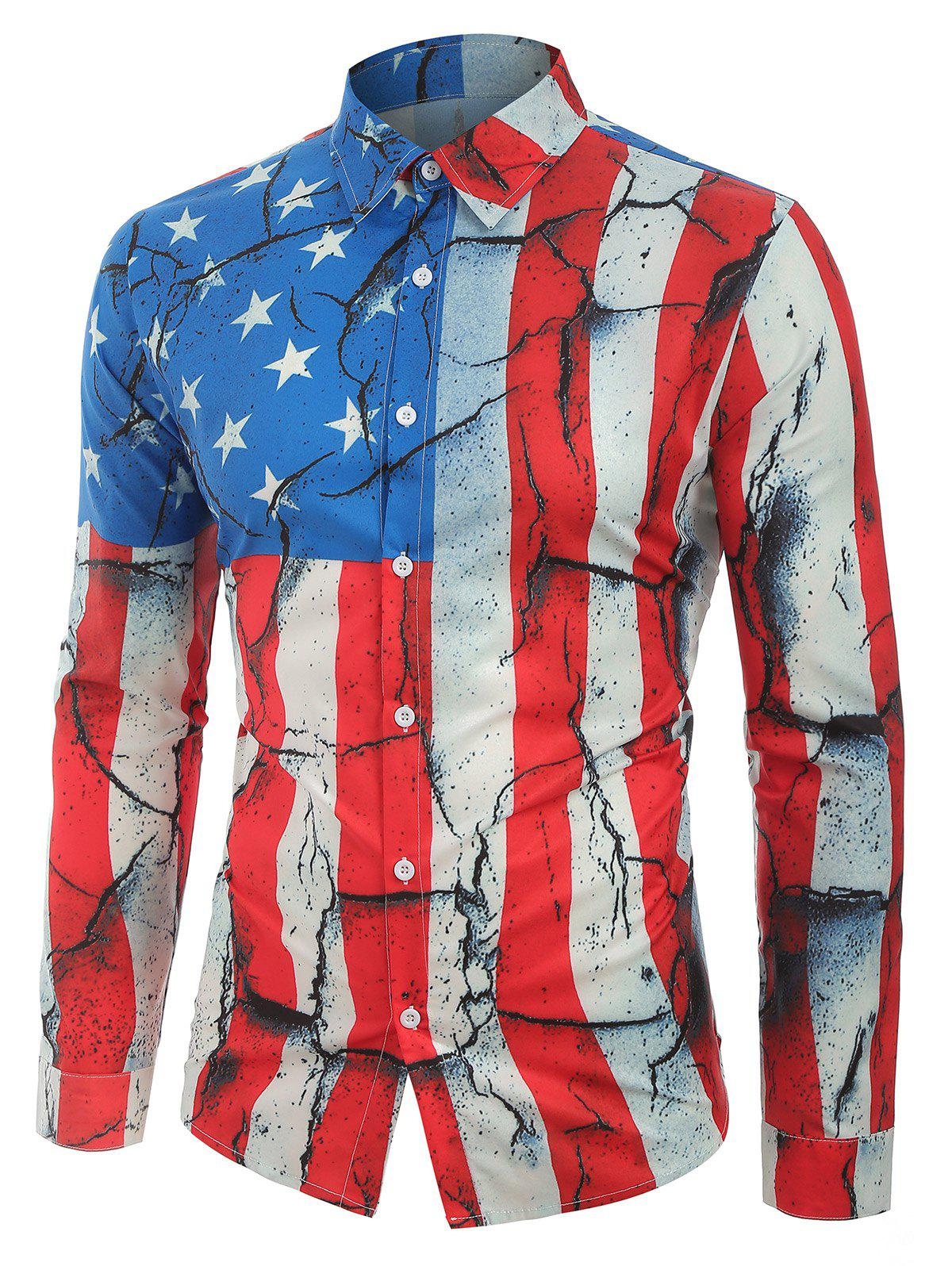 Fancy Cracked Patriotic American Flag Print Button Shirt