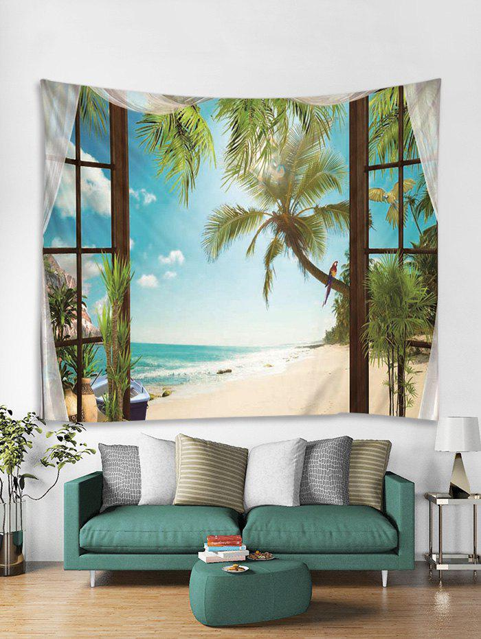 Hot Trees in Window Print Art Decoration Wall Tapestry