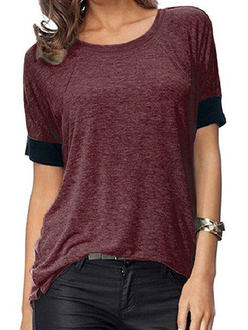 Outfits Contrast Trim Short Sleeves Slits Marled Tee
