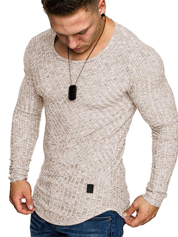 Hot Solid Color Striped Spliced Long Sleeves T-shirt
