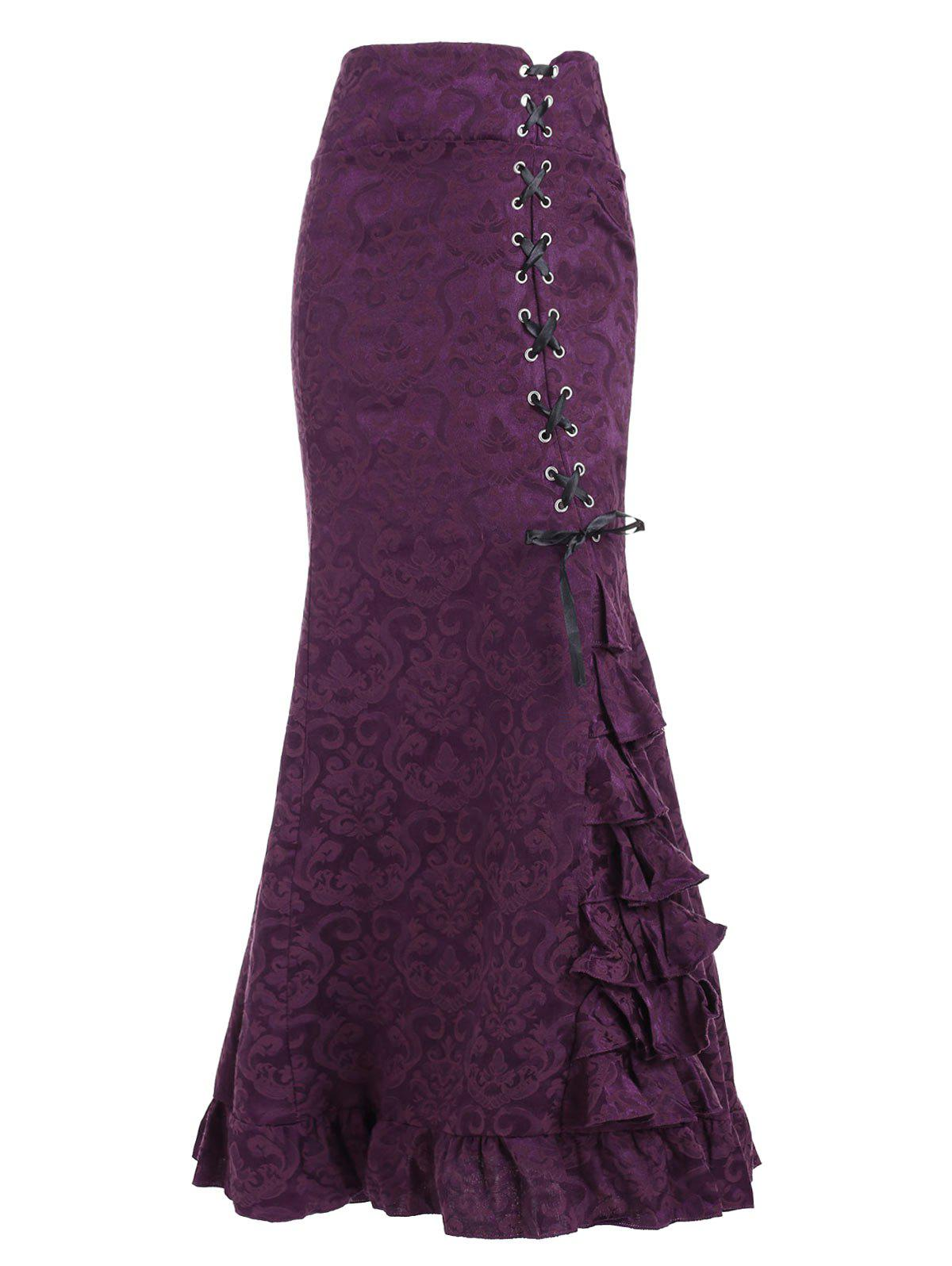 Discount Lace Up Jacquard Mermaid Maxi Skirt