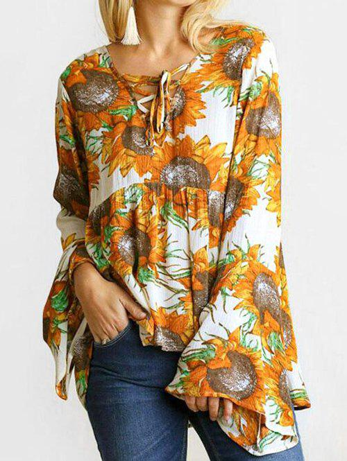 Online Flare Sleeves Lace Up Sunflower Print Blouse