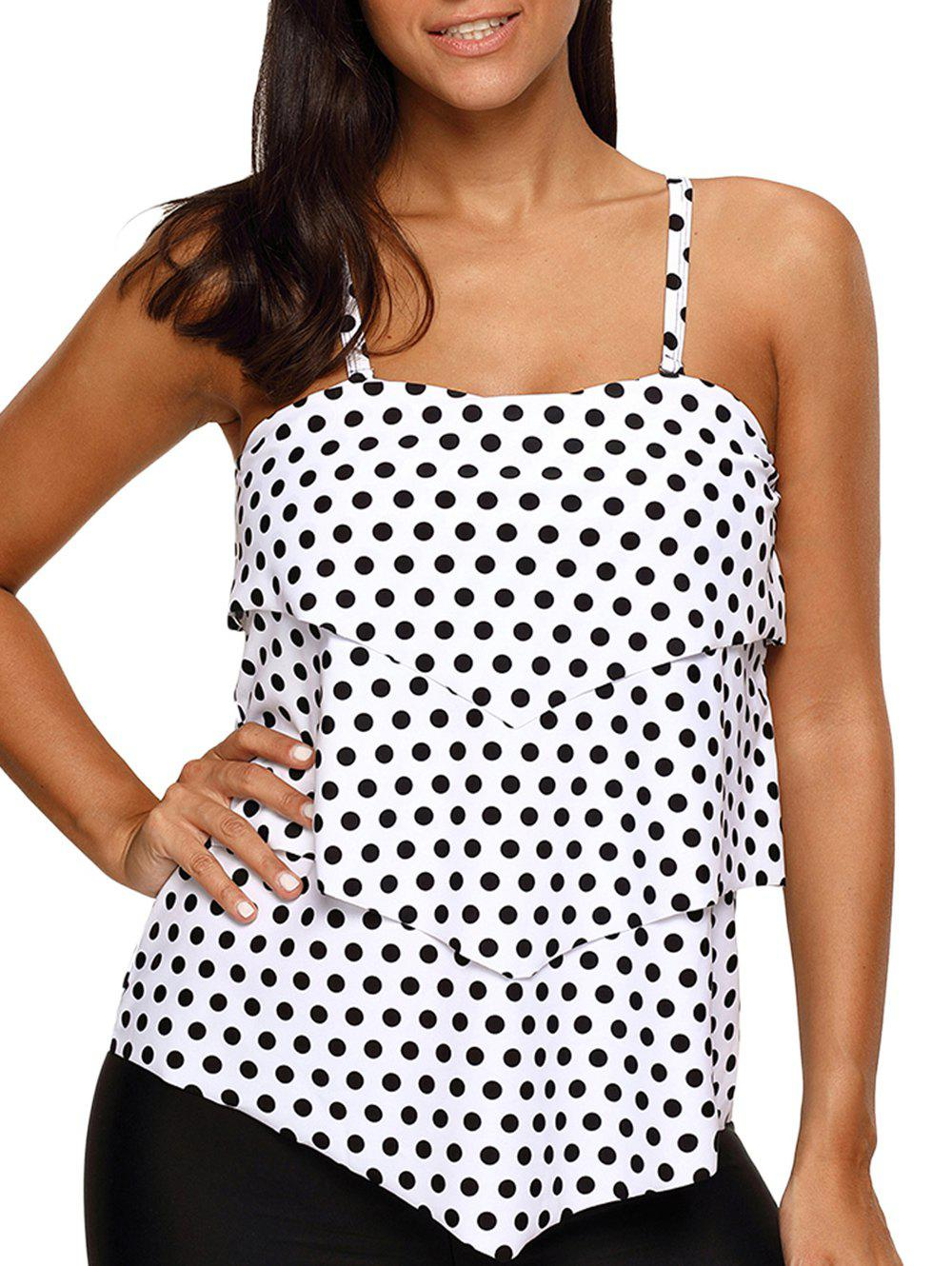 Fancy Polka Dot Layered Tankini Swim Top