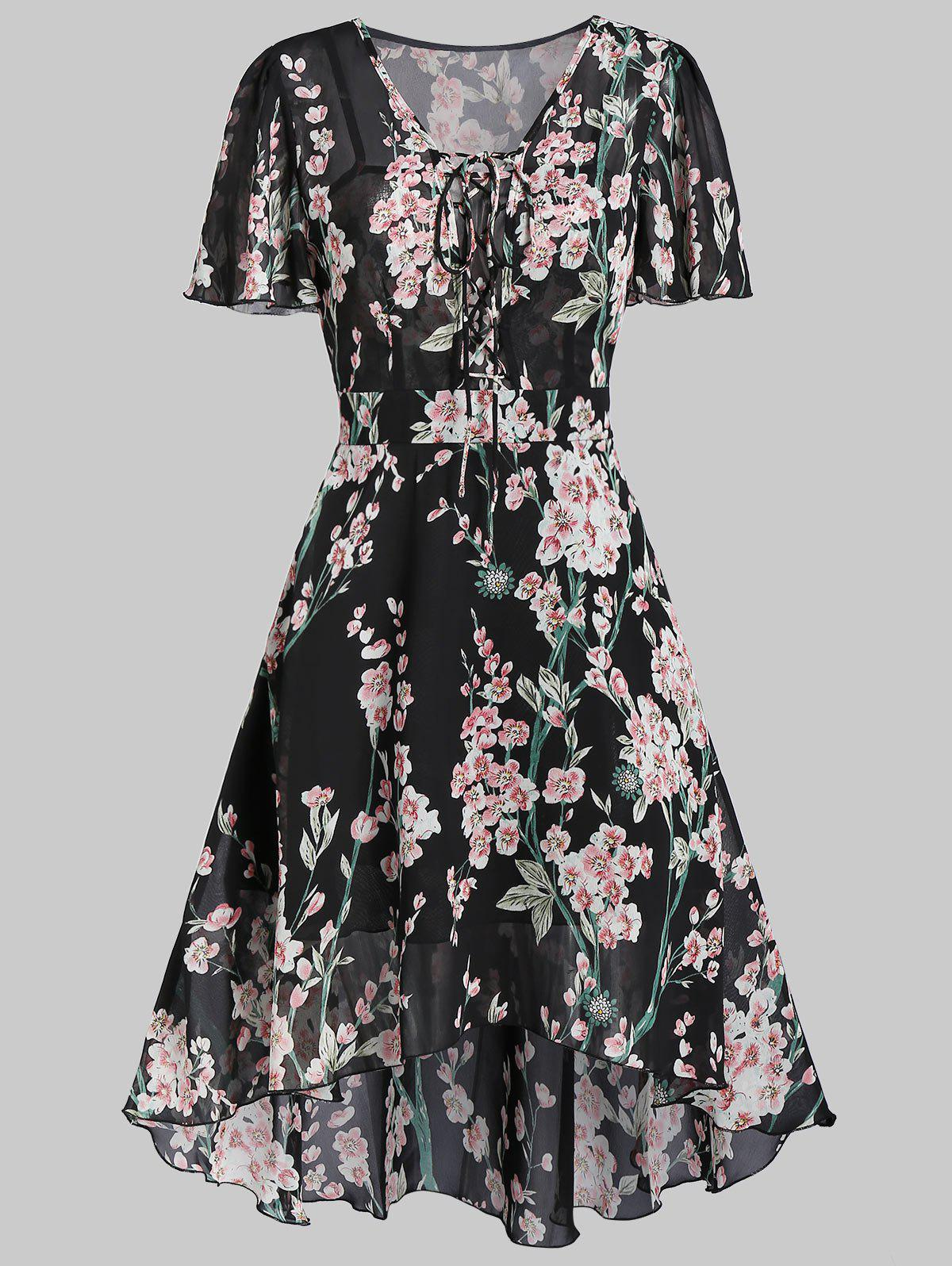 Buy Flower Print Lace-up High Low Midi Dress