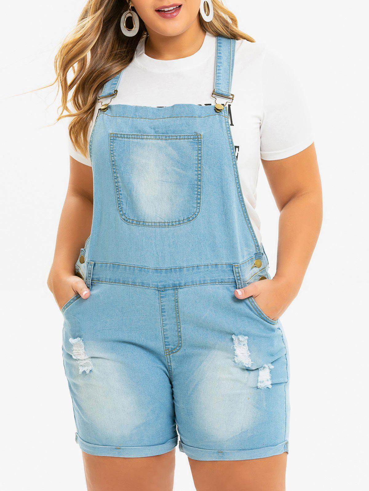 Sale Ripped Cuffed Plus Size Denim Overalls