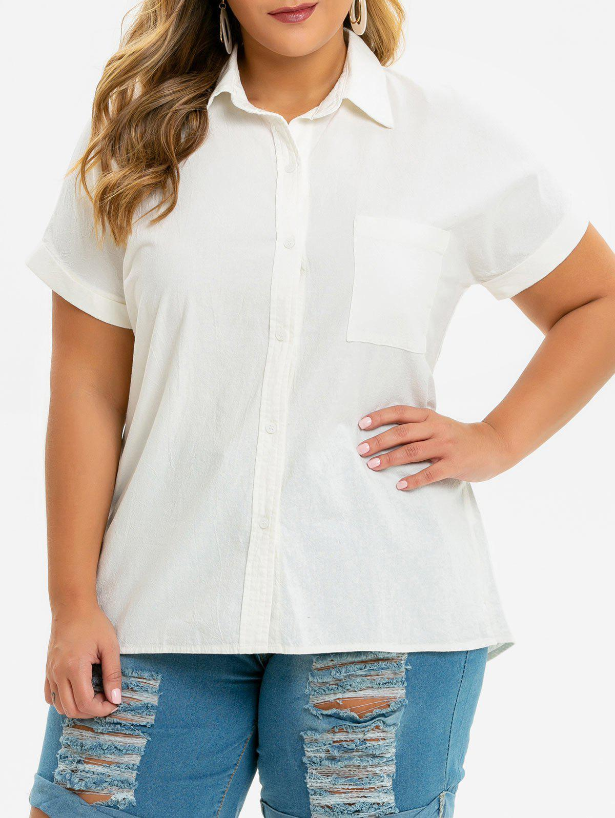 e570f30e52854e 49% OFF] Button Down Cuffed Sleeve Front Pocket Plus Size Shirt ...