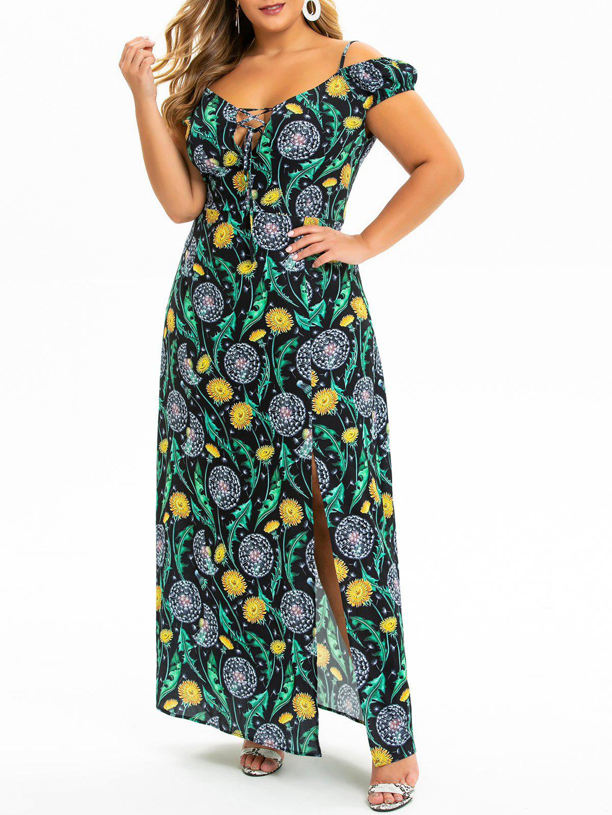 Fancy Plus Size Dandelion Slit Cold Shoulder Maxi Dress