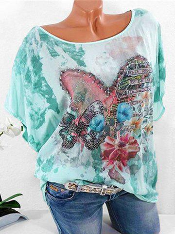 Plus Size Batwing Sleeve Heart Floral Print T-shirt