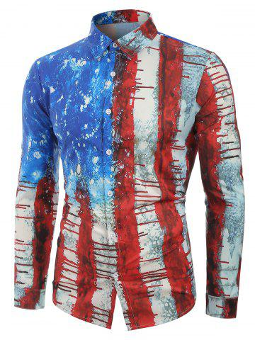 Distressed American Flag Print Casual Shirt