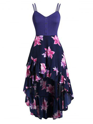 Plus Size Floral Print Flounce Cami Dress