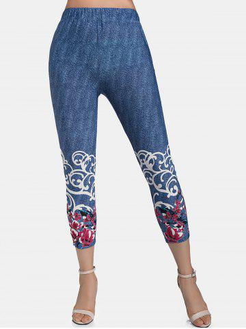 Flower Print High Waisted Cropped Leggings - L BLUEBERRY BLUE