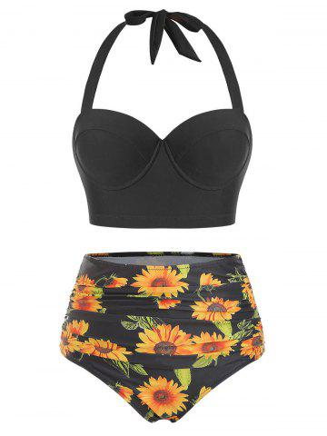 Sunflower Print Underwire Halter Bikini Swimsuit