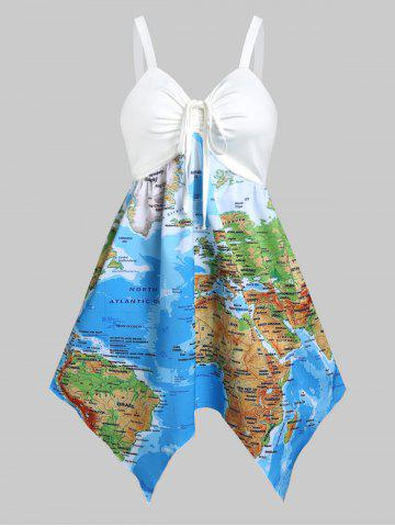 Cinched World Map Print Hanky Hem Flare Dress