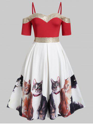 Plus Size Open Shoulder Sequins Cat Print Pin Up Dress