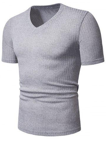 Solid Color Casual V-Neck Short Sleeves T-shirt