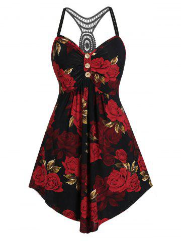 Plus Size Floral Empire Waist Curved Tank Top