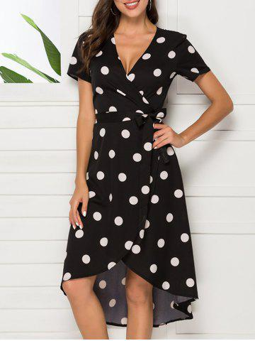 Tie Polka Dot Asymmetrical Wrap Dress