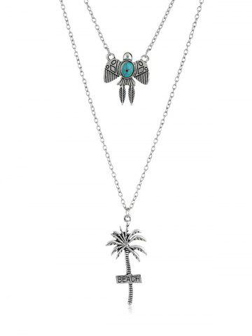 Kite Coconut Palm Beach Layered Pendant Necklace