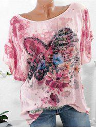 Plus Size Batwing Sleeve Heart Floral Print T-shirt -