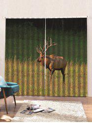 2 Panels Steppe Elk Print Window Curtains -