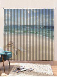 2 Panels Fine Day Beach Conch Print Window Curtains -