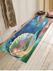 Cartoon Mermaid Sea Print Flannel Floor Rug -