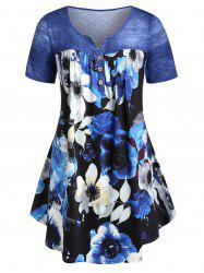 Plus Size Curved Floral T-shirt -