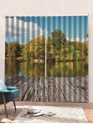 2 Panels Waterside Forest Print Window Curtains -