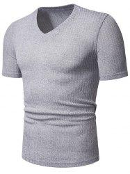 Solid Color Casual V-Neck Short Sleeves T-shirt -