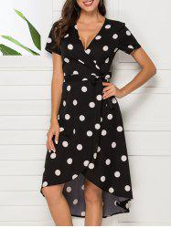 Tie Polka Dot Asymmetrical Wrap Dress -