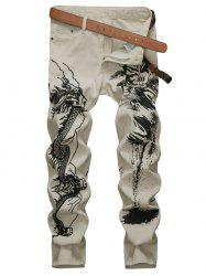 Ink Painting Zip Fly Casual Jeans -