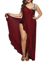 Beach Wrap Ruffles Cover Up Plus Size Dress -