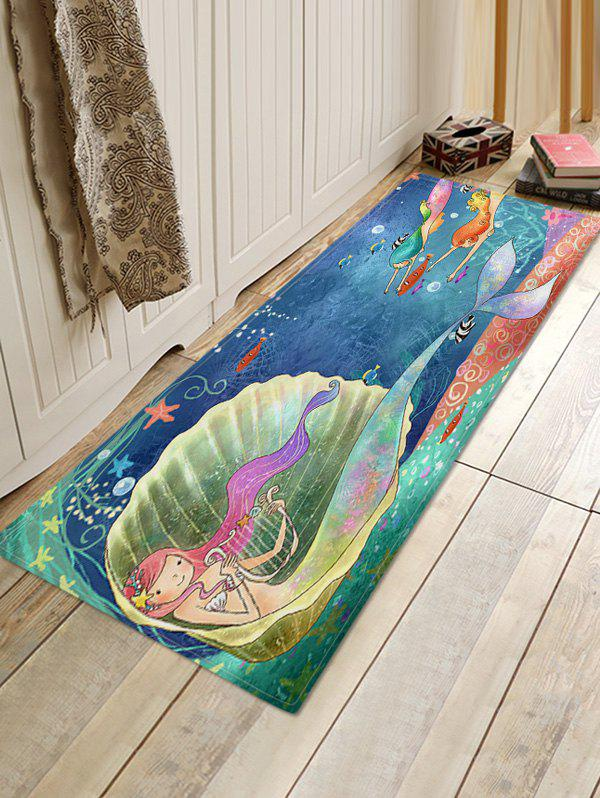 Best Cartoon Mermaid Sea Print Flannel Floor Rug