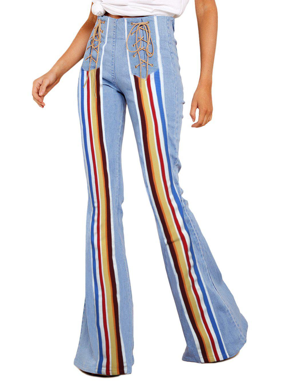 Shops Lace Up Striped Panel High Waisted Flare Jeans